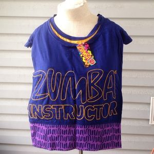Zumba sexy back instructor top yellow navy